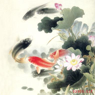 刺绣鱼图案 荷叶鱼苏绣图案