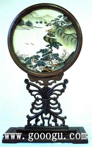 艺术雕花玻璃圆形牡丹