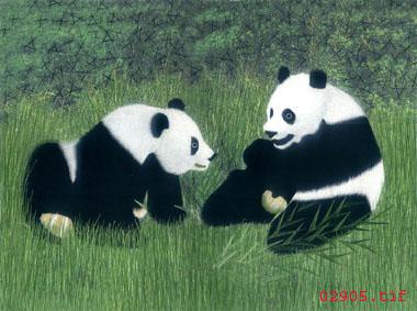 熊猫|老虎|猫|猴子--手工刺绣图案|-动物