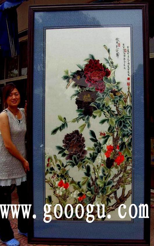 大幅牡丹刺绣画|大幅刺绣壁画订做|广西新创宾馆订-苏绣屏风 苏州娇古图片
