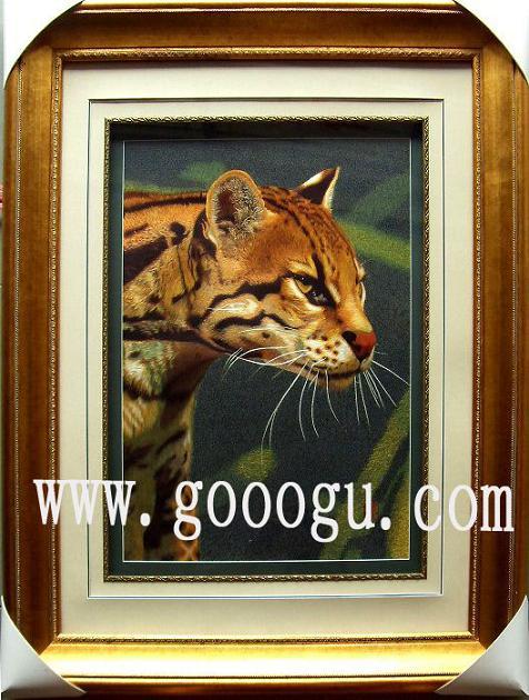 动物刺绣画|老虎头苏绣工艺品|猛兽绣品-苏绣装饰画 苏州娇古苏绣艺术图片