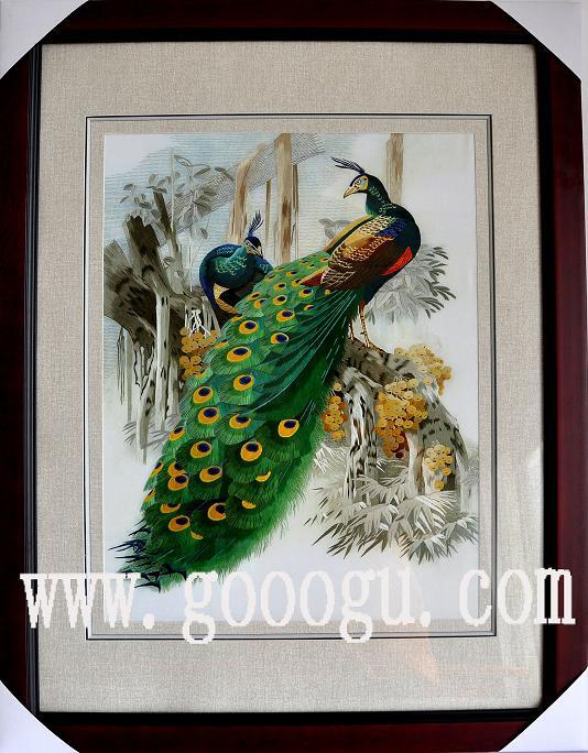 孔雀刺绣壁画 苏州刺绣挂画 刺绣手工艺品 1米以