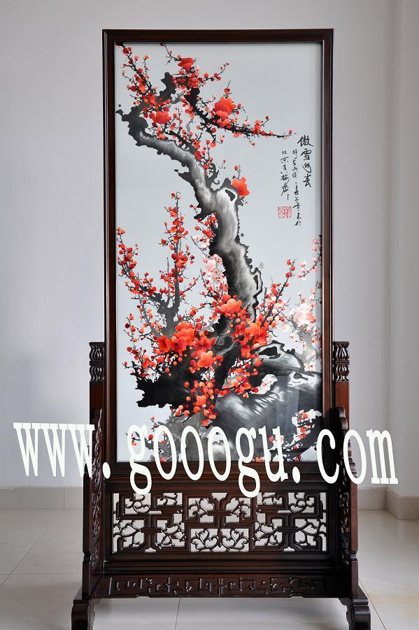 蘇州高檔手工刺繡隔斷屏風,梅花小屏風,高檔居家裝飾品擺件