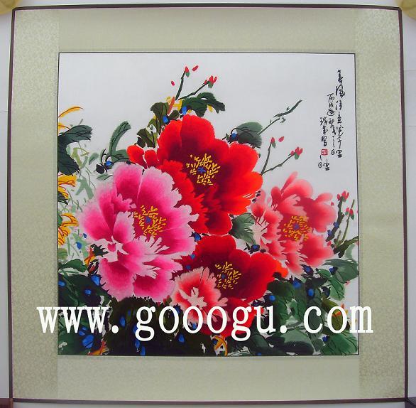 荣华富贵牡丹图,手工刺绣工艺画,镇湖苏绣厂图片