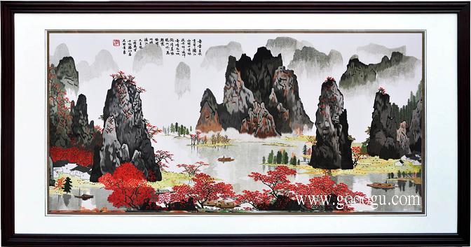 大型风景山水壁画 桂林山水画 经典风景画 中国风客厅装饰画图片