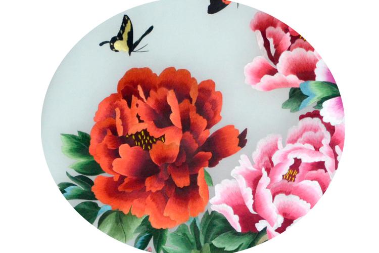 苏绣屏风 牡丹花 家用玄关 双面绣工艺礼品 高档刺绣图片