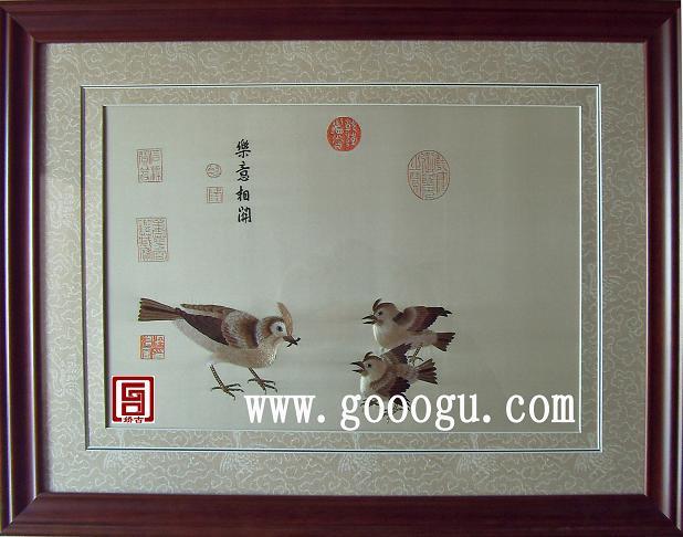 宋鸟刺绣画|古代名家作品|苏绣图案名家名作