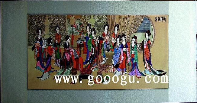 十二金钗刺绣画|传统苏绣画|软裱画