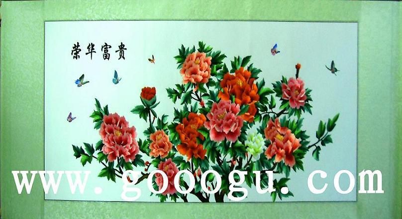荣华富贵刺绣画|苏州刺绣装饰画|牡丹苏绣