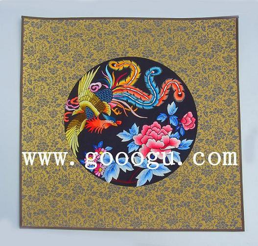 小软裱手工刺绣画,凤穿牡丹系列苏绣画,特色国礼图片