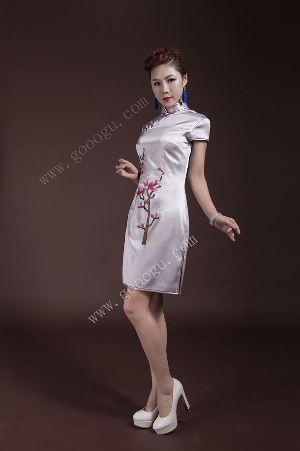 娇古丝绸纯手工刺绣礼服旗袍