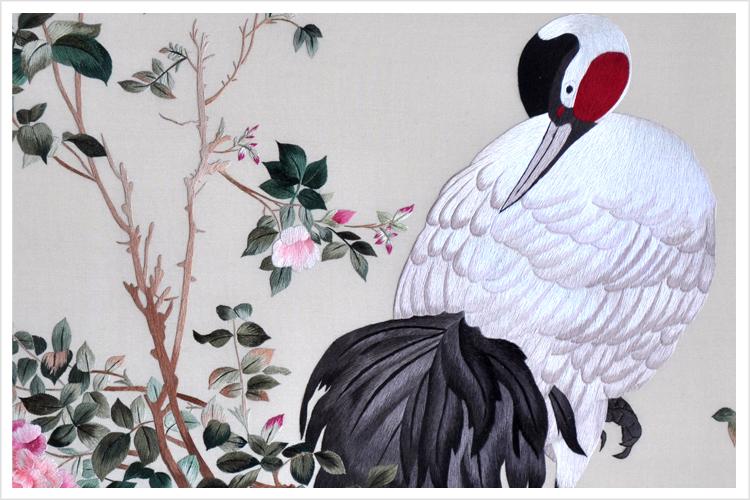 中式刺绣壁画清代郎世宁作品花荫双鹤图古典高档宫廷壁画苏绣图片