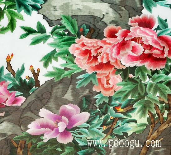 精品国色天香牡丹图细节图片!绣工精细、图案颜色过渡均匀!