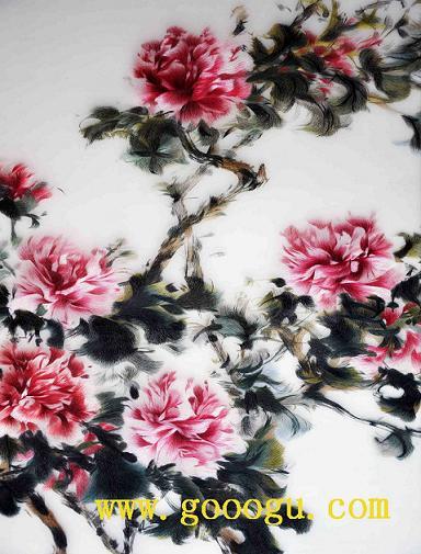 高档牡丹刺绣装饰画 苏绣精品画,苏绣收藏品,居家刺绣精品装饰图片