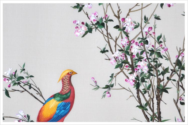 苏绣精品锦鸡牡丹图 中式装修首选高档壁画