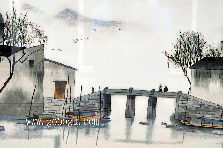 苏绣水乡风情壁画/小桥,流水江南风景画/中国风装饰壁画