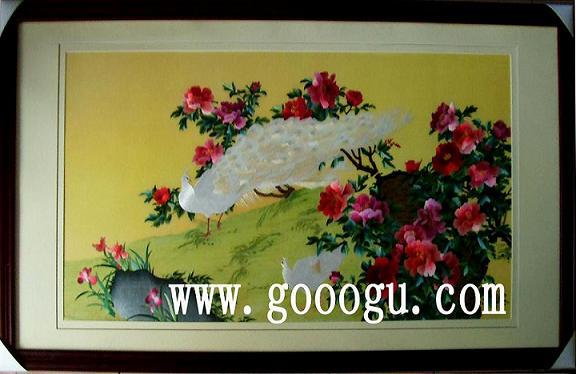 孔雀牡丹图|苏州刺绣|手工艺画