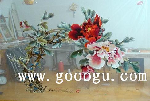 牡丹刺绣画 大型手工刺绣画 苏州刺绣
